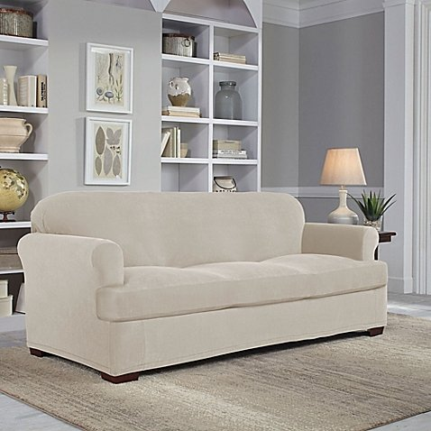 Perfect Fit Easy Fit 2-Piece T-Sofa Slipcover in Putty