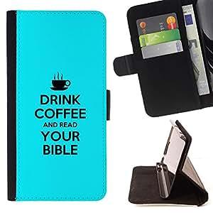 BullDog Case - FOR/LG G3 / - / DRINK COFFE AND READ YOUR BIBLE /- Monedero de cuero de la PU Llevar cubierta de la caja con el ID Credit Card Slots Flip funda de cuer