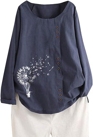 WARMWORD Blusas Mujer Manga Larga Algodón y Lino Camisas Botón Camisetas Impresión de Diente de león Tops Suelto Tallas Grandes Moda Mujer Casual Manga Larga Cuello Redondo Tops M-5XL: Amazon.es: Ropa y