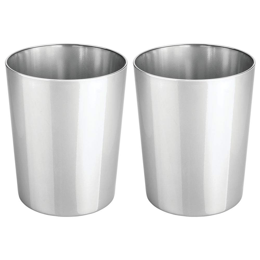 mDesign Round Metal Small Trash Can Wastebasket, Garbage Container Bin for Bathrooms, Powder Rooms, Kitchens, Home Offices - Durable Steel, 2 Pack - Chrome by mDesign