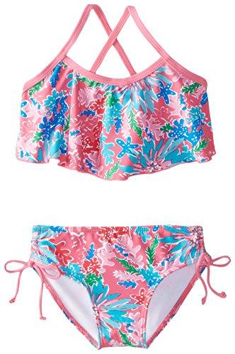 Kanu Surf Toddler Girls' Karlie Flounce Bikini Beach Sport 2-Piece Swimsuit, Ariel Pink, 3T