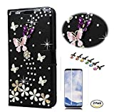 STENES Galaxy S8 Case - Stylish - 3D Handmade Bling Crystal S-Link Butterfly Floral Wallet Credit Card Slots Fold Media Stand Leather Cover for Samsung Galaxy S8 with Screen Protector - Black
