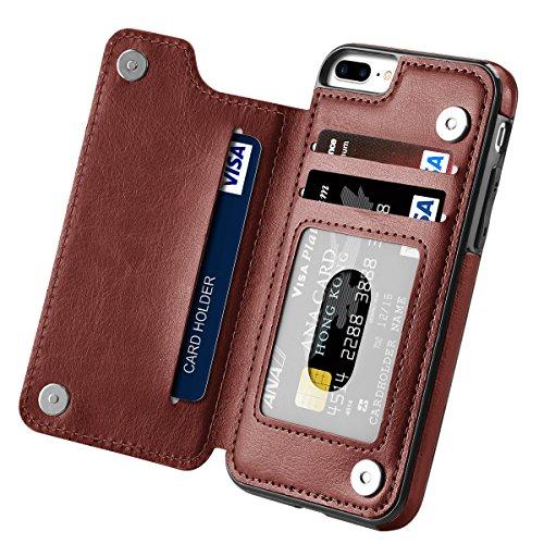 iPhone 7 Plus Case, iPhone 8 Plus Case, Hoofur Slim Fit Premium Leather iPhone 7 Plus Wallet Casae Card Slots Shockproof Folio Flip Protective Defender Shell for Apple iPhone 7 Plus (5.5 Inch) (Brown)