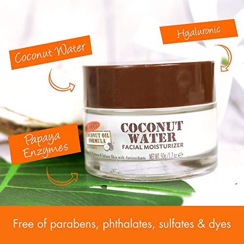 Palmer's Coconut Oil Formula Coconut Water Face Moisturizer | Naturally Hydrates & Infuses Skin with Antioxidants | 1.7 Ounce Jar