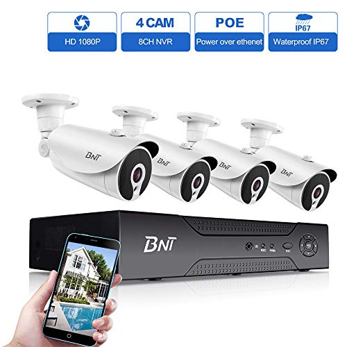 BNT 1080P 8CH PoE Security Camera System, 8Ch NVR 4 Camera, 7/24 Recording H.265+ Onvif, Remote Monitoring, Customize Motion Detect, IP67 Waterproof Outdoor, Support Max.8TB Hard Drive-not Included