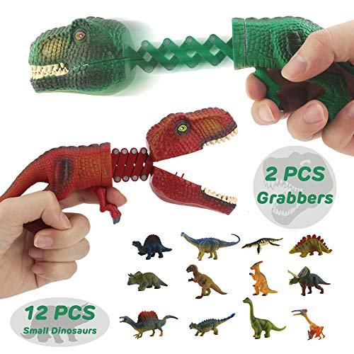 GreenKidz Hungry Dino Grabber Toy with Dinosaur Figures Playset Includes 2PCS T Rex Grabbers with 12PCS Small Dinosaurs Figures Extending Grabber Claw Game Snapper Novelty Toys Party Favors for Kids