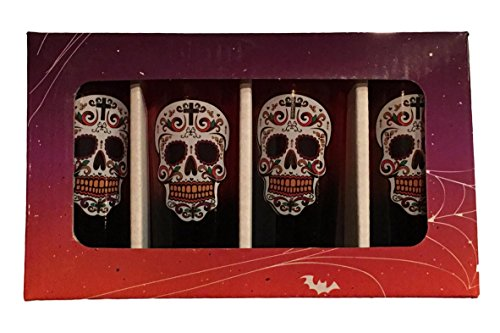 Tall Shooter Set (Candy Skull Sugar Skull Tall 2 ounce Shooters, Set of 4 - Day of the Dead (Sugar Skull Classic))