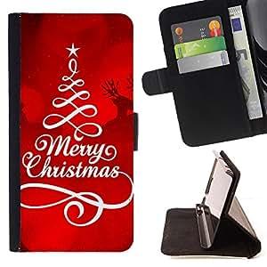 - Merry Christmas Tree Green Red Deer Snow - - Caso de la cubierta de la piel cierre magn????tico Cartera de cuero del tir????n FOR HTC Desire 820 D820 d820t Gaga Case