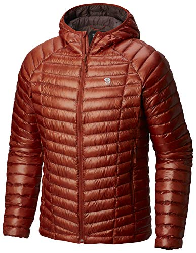 Mountain Hardwear Mens Ghost Whisperer Insulated Down Water Repellent Jacket with Hood - Dark Copper - XL