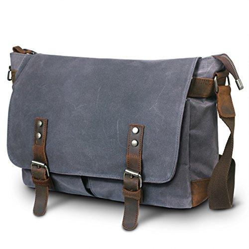 SUVOM Mens Canvas Laptop Messenger Bag Leather Shoulder School Satchel-14 Inch (Dark Grey)