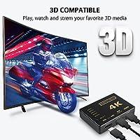 [Upgrade version] HDMI Switch splitter,Wewdigi Intelligent 5-Port HDMI Switch, Supports 4K, Full HD1080p, 3D with IR Remote (Black-5Port) by Amuoc
