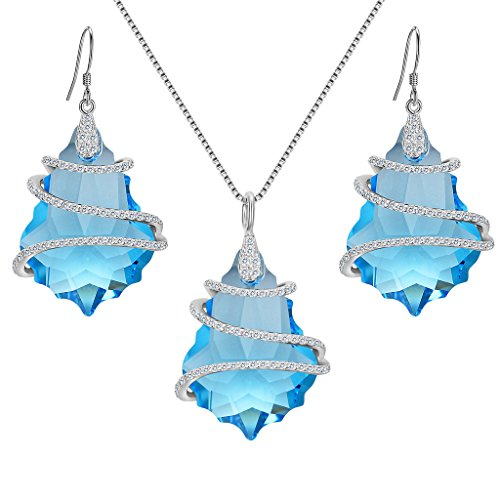 - EVER FAITH 925 Sterling Silver CZ Baroque Pendant Jewelry Set Blue Adorned with Swarovski Crystal