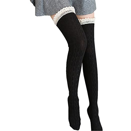 70a0d7f7978c3 Women's Extra Long Cotton Lace Thigh High Over Knee High Socks Winter Socks  (Black)