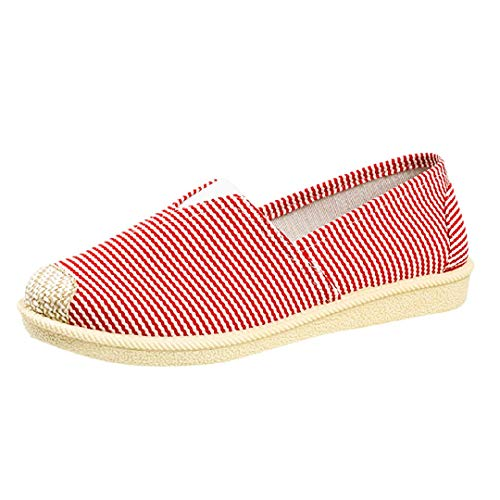 Fainosmny Students Flat Shoes Pregnant Women Single Shoes Casual Lazy Sneakers Breathable Boat Shoes Slip On Soft Peas Shoes Red