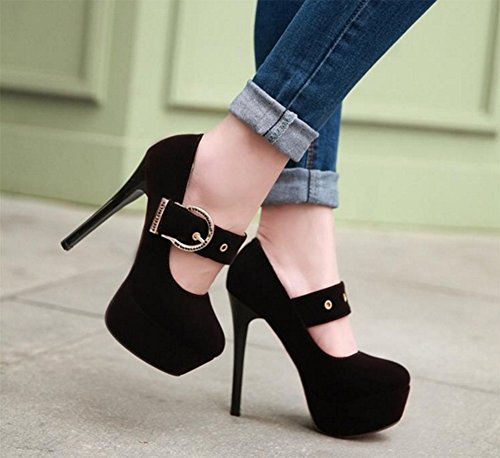 Chfso Womens Nightclub Cheville Sangle Boucle Faux Suède Bout Arrondi Plus Pompes Chaussures Violet