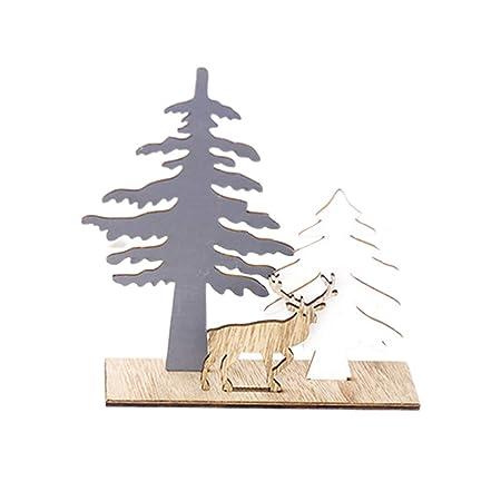 Amosfun Navidad decoración de Madera de la Mesa de Reno Ornamento ...