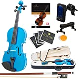 Mendini Size 1/2 MV-Blue Solid Wood Violin with Tuner, Lesson Book, Shoulder Rest, Extra Strings, Bow and Case, Metallic Blue
