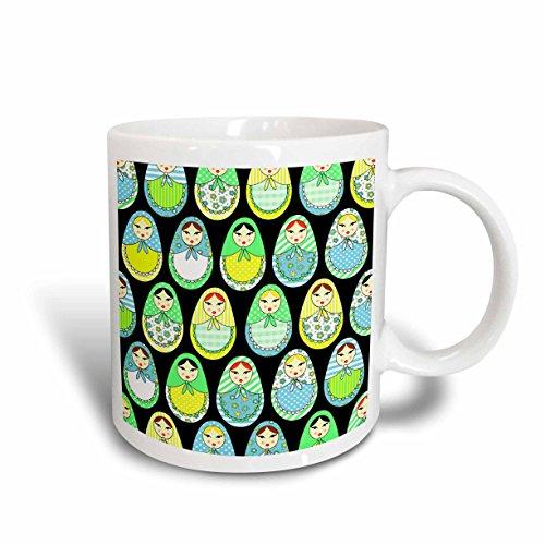 (3dRose mug_58622_1 Cute Russian Matryoshka Nesting Dolls Print Cool Colors Black Ceramic Mug,)