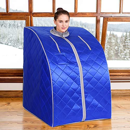 HEALTH LINE PRODUCT Portable Far Infrared Sauna, fit for People Under 6.6ft, Support 350lbs Home spa Sauna, Easy Clean and Portable Blue Grey