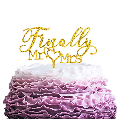 Hatcher lee Finally Mr Mrs Acrylic Cake Topper for Wedding Engagement Bridal Shower Cake Decorations Gold