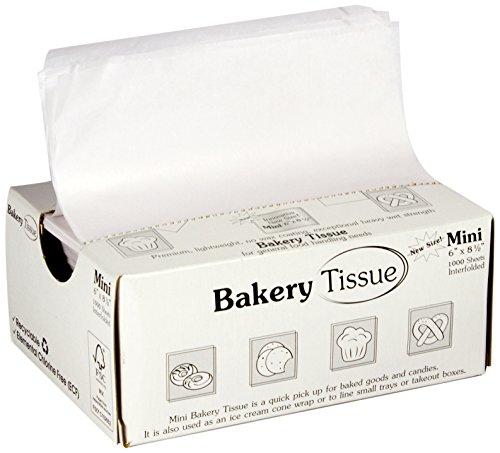 "RestaurantWraps.com Mini Interfolded Unwaxed Bakery Pick Up Tissue, 6"" x 8.5"", White (10 Packs of 1000 Sheets)"