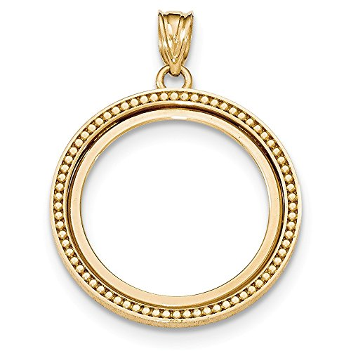 (Jewelry Stores Network 14k Yellow Gold Beaded Polished 1/4 oz Panda Coin Bezel)