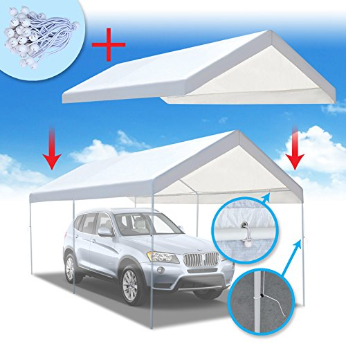 BenefitUSA 10'x20' Carport Replacement Canopy Tent Garage Top Tarp Shelter Cover w Ball Bungees (with Edge) (Cover Only)