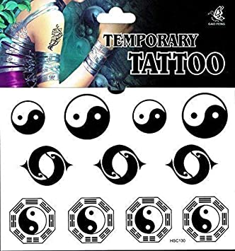 Yin y Yang Tattoo 1 arco falsos de tatuaje Tattoo Desechables ...