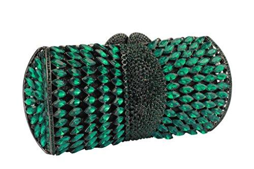Yilongsheng Glitter bolsos de las mujeres con diamantes de cristal simétrico(verde)