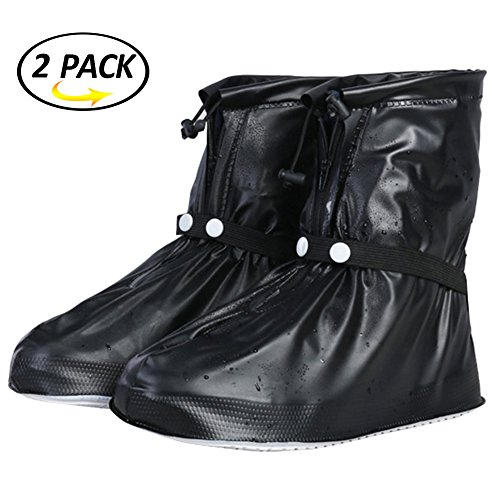 Reusable Waterproof Rain Shoe Covers SWISSWELL Black 2 Pairs 2XL
