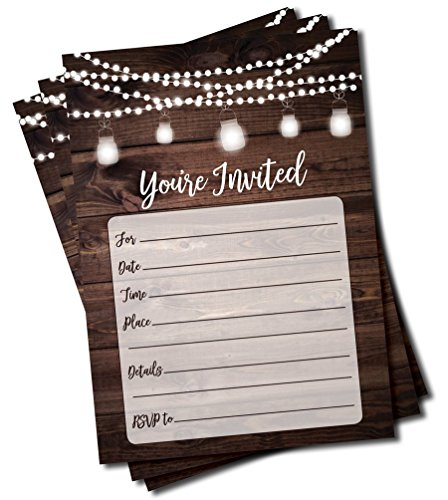 Rustic Invitations and Envelopes (Large Size 5×7) – Wedding – Engagement – Birthday Party – Baby Shower – Any Occasion – Wood and Lights (50 count)