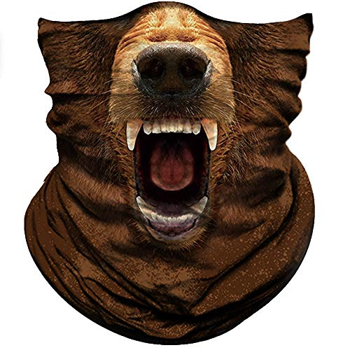 Obacle Animal Half Face Mask Sun Dust Wind Protection Durable Breathable Seamless Face Mask for Men Women, Lightweight Thin Neck Gaiter for Outdoor Sports Bear Brown