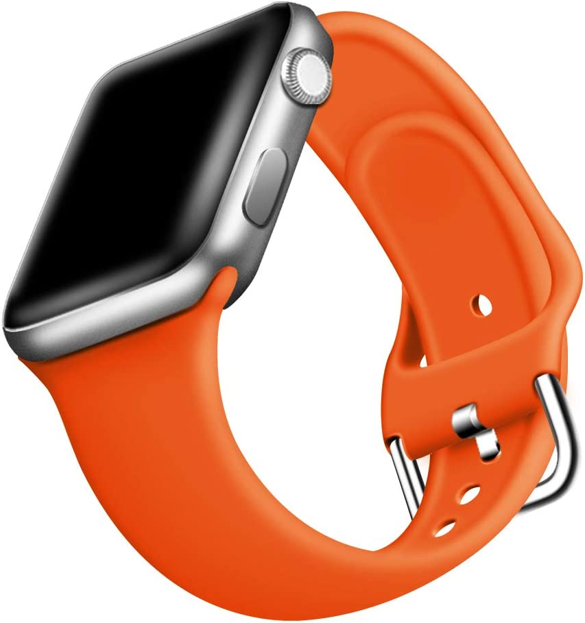 ONMROAD Sport Band Compatible with Apple Watch Bands 42mm Series 3 for Man, Soft Smooth Silicone Replacement Strap for Apple Watch Series 5 44mm Band for Women - Orange
