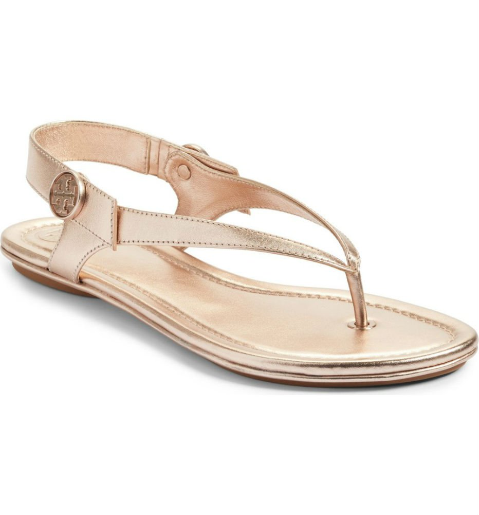 Tory Burch Minnie Leather Travel Sandal (7, Rose Gold)