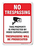 Sigo Signs Video Surveillance Sign, No Trespassing Sign, 10x14 Rust Free,40 Aluminum UV Printed, Easy to Mount Weather Resistant Long Lasting Ink Made in USA