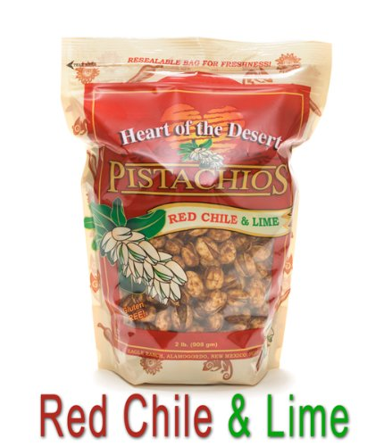 1 lb Red Chile/Lime Flavored In-Shell Kosher Pistachios from Heart of the Desert Pistachios and Wines, Eagle Ranch Pistachio Groves, Alamogordo, New Mexico