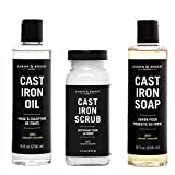 Caron Doucet - Cast Iron Care Ultimate Bundle - Cast Iron Oil, Cast Iron Soap & Cast Iron Scrub - 100% Plant Based Formulation - Helps Maintain Seasoning on All Cast Iron Cookware.