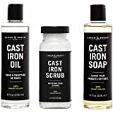 Caron Doucet - Cast Iron Seasoning & Conditioning Ultimate Bundle - Cast Iron Oil, Cast Iron Soap & Cast Iron Scrub - 100% Plant Based Formulation - Helps Maintain Seasoning on All Cast Iron Cookware.