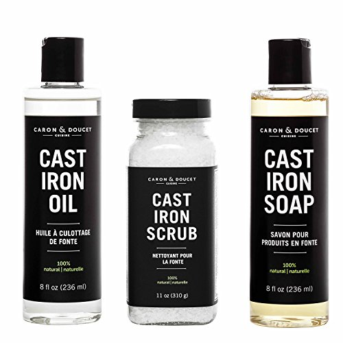 Caron Doucet - Cast Iron Seasoning & Conditioning Ultimate Bundle - Cast Iron Oil, Cast Iron Soap & Cast Iron Scrub - 100% Plant Based Formulation - Helps Maintain Seasoning on All Cast Iron Cookware. Cast Iron Skillet Soap