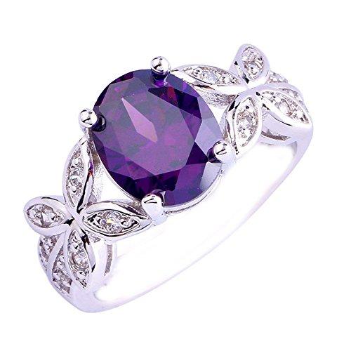 Empsoul Women 925 Sterling Silver Natural Fancy Filled 5-Stone Amethyst Topaz Flower Symbol Engagement Proposal Ring