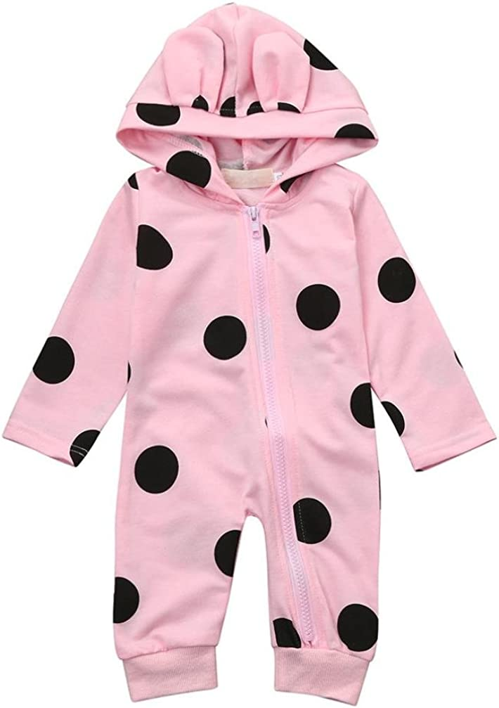 Gallity Nowborn Infant Baby Boys Girls Dot Cartoon Ear Hoodie Zipper Romper Outfits Clothes