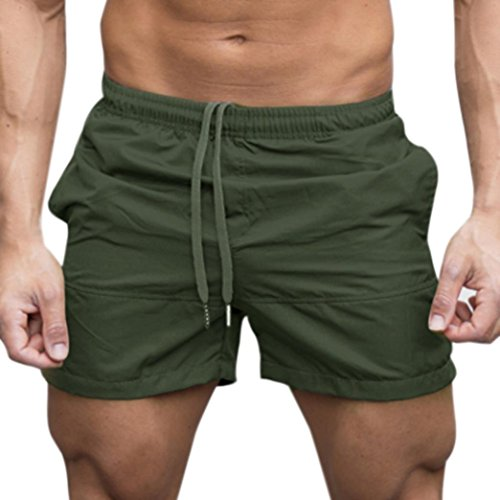 CieKen Men's Fitted Shorts Bodybuilding Workout Gym Running Tight Lifting Shorts (Army Green, ()