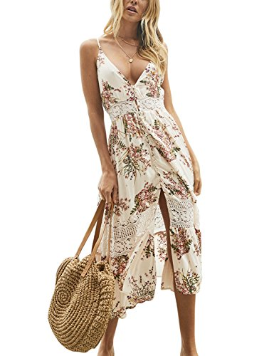 Strap Summer Spaghetti Dress Midi Deep Boho Floral Beige Womens Blooming Jelly Lace Down V Neck Button qECzwxBA