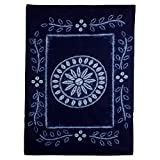 NOVICA Blue and White Batik Cotton Table Cloths, 'Flowery Feast'
