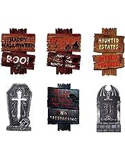 Gukasxi 7 Stks Halloween Yard Tekenen Outdoor Gazon Decoratie Grafsteen Yard Stakes Pas op Teken c Halloween Props Decoraties Grafsteen Decoraties Grafsteen Yard Decor