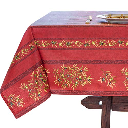 Amelie Michel Wipe-Clean French Tablecloth in Red Olives | Authentic French Acrylic-Coated 100% Cotton Fabric | Easy Care, Spill Proof [60