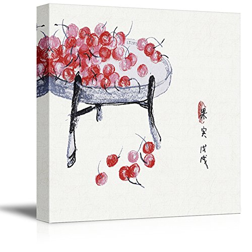Square Watercolor Style Chinese Painting of Red Cherries on a Round Table