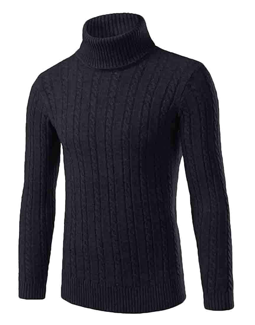 XQS Mens Winter Knitted Turtleneck Slim Fit Pullover Thermal Sweaters