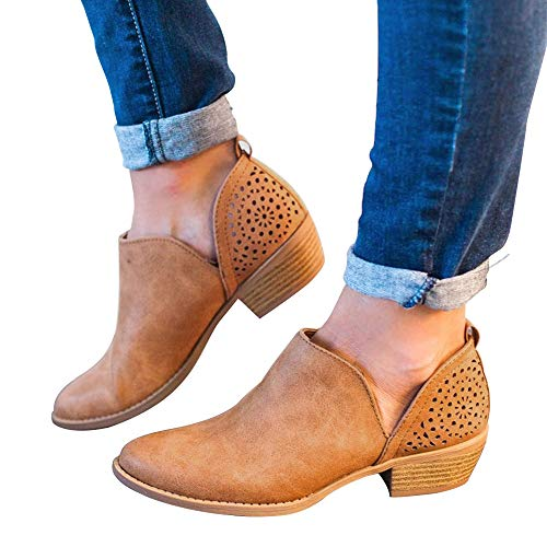 Athlefit Women's Booties Ankle Heel Slip On Low Heel Cut Out Ankle Boots EU39 Brown