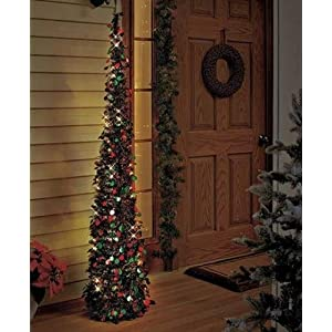 "Affordable, Collapsible 65"" Lighted Christmas Trees in Green/red for Small Spaces with Timer 116"